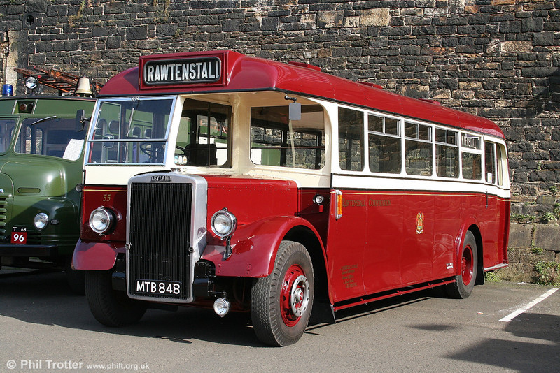 Former Rawtenstall Corporation 55 (MTB 848), a magnificently preserved Leyland Tiger PS2/1 with East Lancs B35R on display at the East Lancs Railway, Bury, on 10th September 2006.