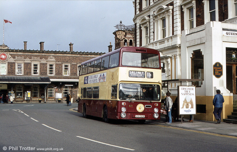 Northern Counties H43/29F bodied Fleetline Chester 83 (VCA 183R) loads up at the rail station with passengers for Chester City Centre.