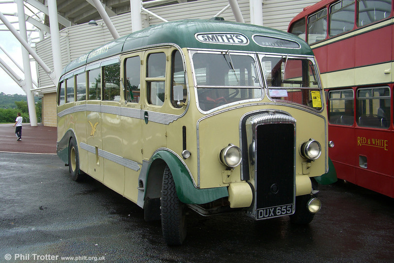 DUX 655 is a wonderful 1948 Daimler CVD6SD with a Metalcraft C33F body fitted in 1950. It was new to Smith's Eagle Coachways (T.G.Smith) of Trench, Shropshire, and went into preservation in 1974. Seen at Swansea on 17th June 2007.
