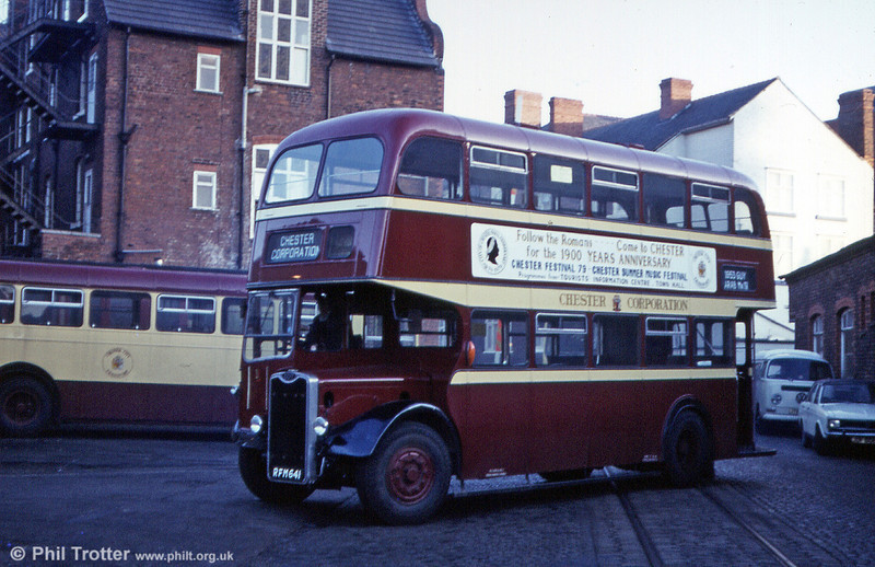 """A Guy I once knew.... City of Chester continued to use this 1953 Guy Arab IV/Massey H30/26R as a training vehicle following withdrawal from service. Since preserved, Chester 1 (RFM 641) is seen here at the depot; note the tram rails - Chester's 3' 6"""" gauge tramway closed as far back as 1930!"""