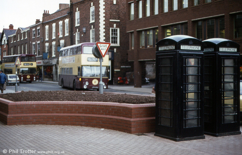 Sensitivites about historic architecture in Chester City Centre meant that even telephone boxes had to be painted black to 'blend in'.