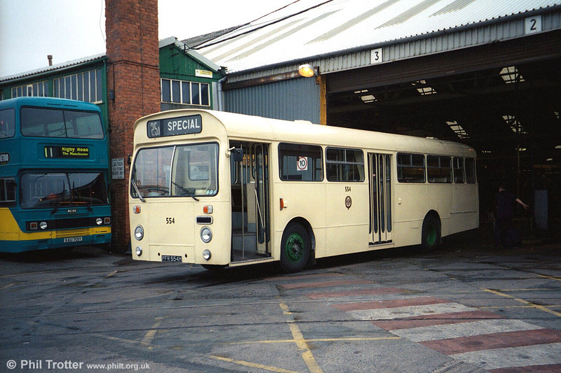 Blackpool 554 (PFR 554H) an AEC Swift MP2R/Marshall B47D seen at Rigby Road depot on 19th March 2003.