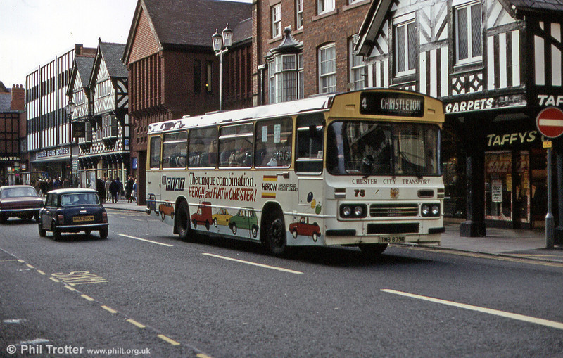 Seen in an advertising livery, 75 (TMB 875R) was a Leyland Leopard PSU4D/2R with Duple B47F built in 1976.