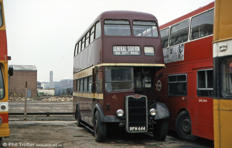 Another Guy from Chester. This is former 4 (RFM 644), also a Guy Arab IV, built in 1954 and seen at the premises of Stevenson's, Burton upon Trent, in February 1984. The Park Royal H30/26R body bears some styling similarities to the London Transport RT type.