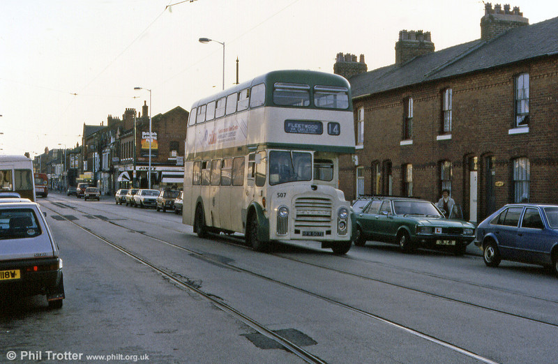 Leyland PD3/MCW H41/30R 507 (HFR 507E) in Fleetwood.
