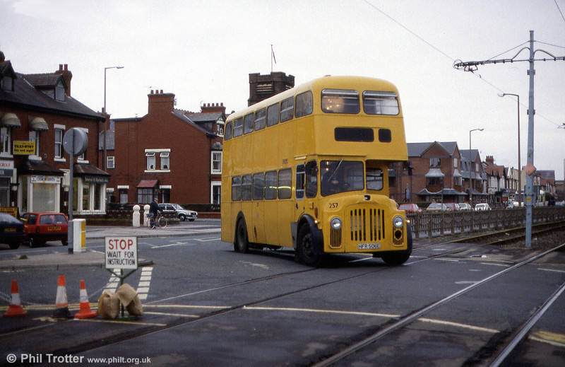 Blackpool 1967 PD3A/1 257 (HFR 506E), in retirement as a works bus for tramway maintenance staff at Cleveleys, 22nd November 1991. The bus originally carried fleet no. 506; bodywork was MCW H41/30R.