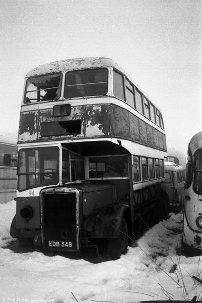 Former Stockport 294 (EDB 548) a 1951 Leyland PD2/1/Leyland H30/26R seen at the premises of Berresfords, Cheddleton in the early 1980s.