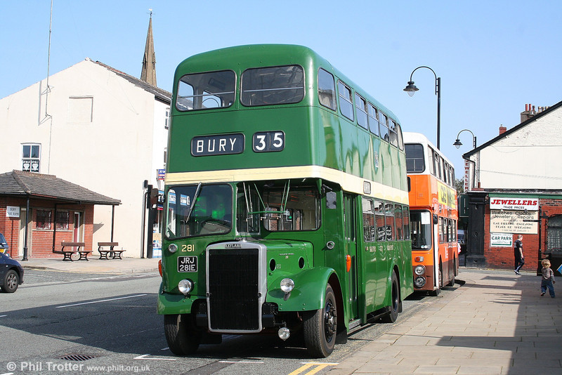Former Salford Corporation Leyland Titan PD2/MCW 281 (JRJ 281E), now preserved by the Museum of Transport, Manchester is seen at Bury on 10th September 2006.