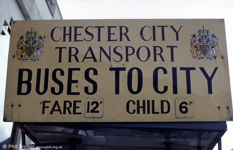 The sign which met everyone arriving at Chester Station wishing to catch a bus into the City Centre.