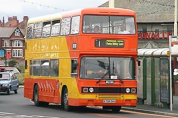 Blackpool 408 (A708 DAU), a Leyland Olympian/ECW H45/30F, formerly Trent 708. 27th May 2003.