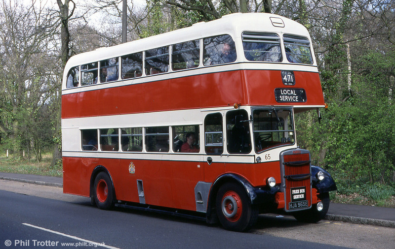 Stockport Corporation 65 (HJA 965E), a Leyland Titan PD2/Neepsend H36/28R seen operating on a free bus service at Cobham in 1998.