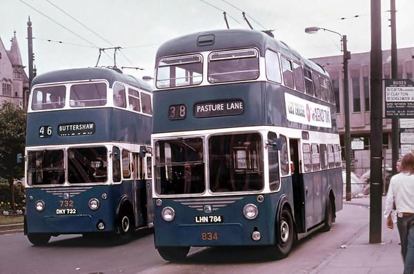Bradford 834 LHN784 and 732 DKY732, Bradford, July 1971