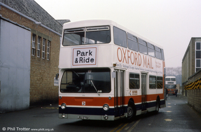 A nearside view of 994 (JGU 275K) at Cowley Road Depot in March 1984.