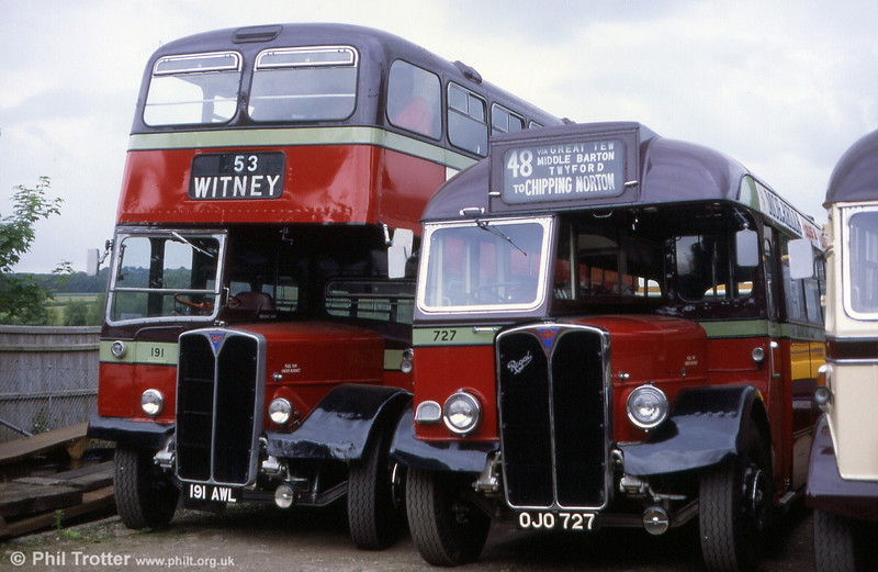 Ex City of Oxford 1956 AEC Regent V/Weymann L30/26RD 191 (191 AWL) and Regal III/Willowbrook B32F 727 (OJO 727) in 1993.