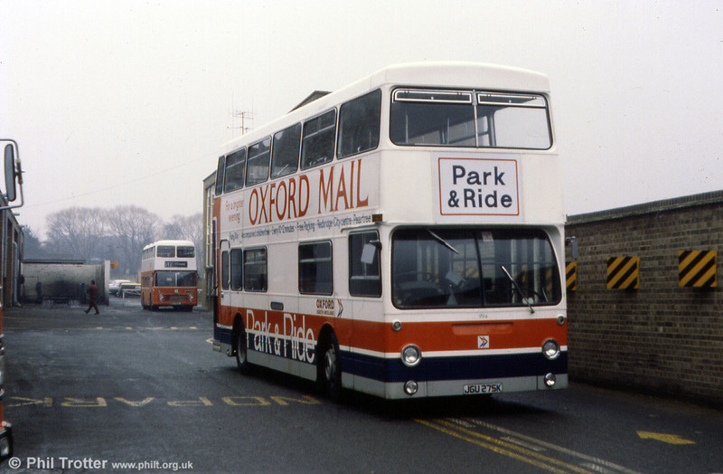 994 (JGU 275K) was photographed in a dedicated Park & Ride livery at Oxford in March 1984. It had previously seen service with London Transport from 1972 as DMS1275 and was allocated to depots at Sutton and Bromley.