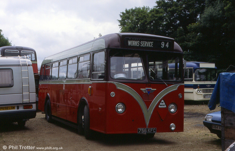 City of Oxford 756 (756 KFC) an AEC Reliance 2MU3R/Park Royal B44F at the Oxford Bus Museum.