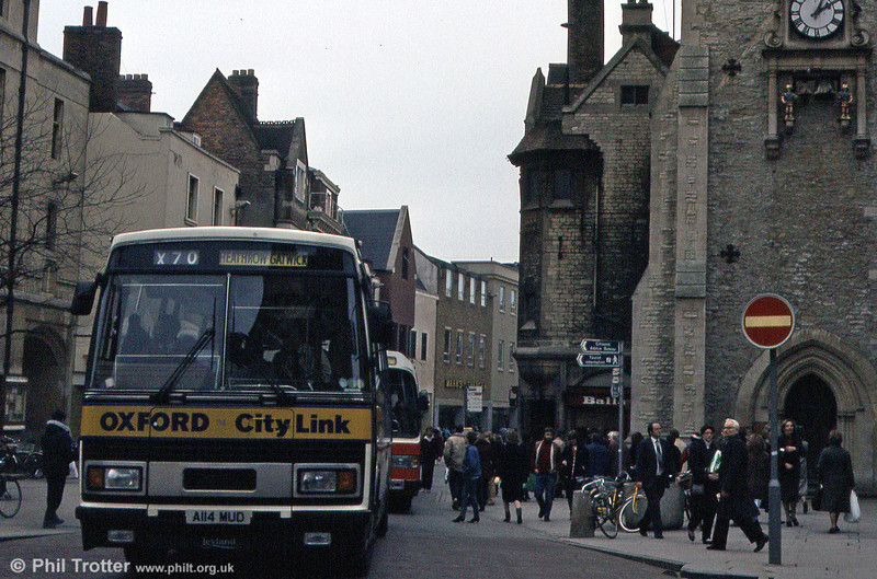 114 (A114 MUD) was a Leyland Tiger/Plaxton C51F seen when only two months old in March 1984.