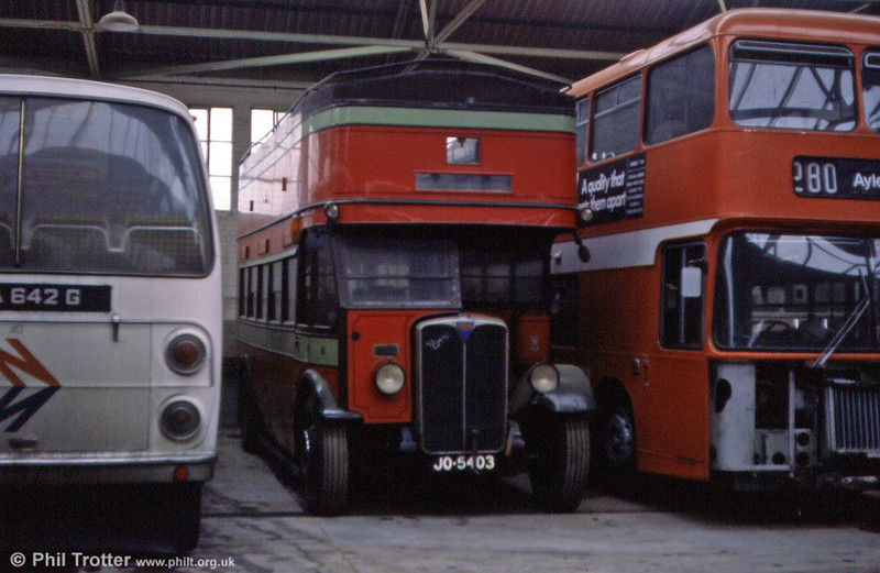 Oxford GA16 (JO 5403) is a 1932 AEC Regent, formerly Brush H28/24R, converted to O28/24R in 1951 ater it had passed to Gosport & Fareham Omnibus Co. It was photographed in store at City of Oxford's depot.