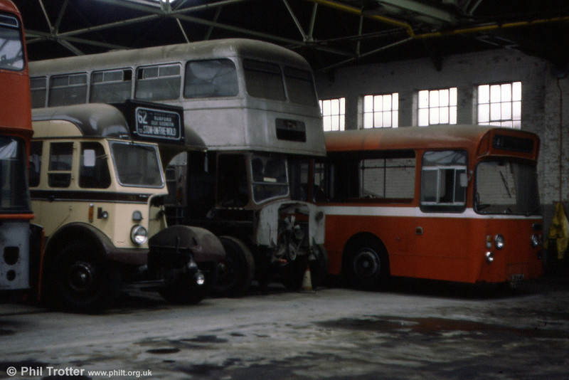 A selection of former City of Oxford vehicles in store at Cowley Road. In the centre is 956 (956 AJO), an AEC Regent V/Park Royal.