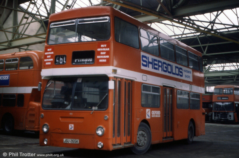 Oxford was one of many operators to take advantage of secondhand DMS vehicles from London Transport. 991 (JGU 265K), a Daimler Fleetline/MCW H44/24D was formerly DMS1265 and was purchased by Oxford in July 1979.
