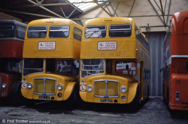 AEC Renowns 340 (340 TJO) and 360 (DFC 360D), a pair of City of Oxford Renowns/Park Royal in use as training buses. The vehicles were converted to trainers in 1977 and 1978 respectively.