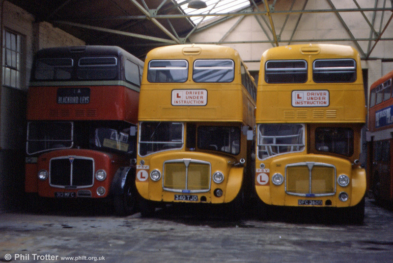Left to right: Preserved 312 (312 MFC) a 1961 AEC Bridgemaster/Park Royal H43/29F, driver training buses 340 (340 TJO) and 360 (DFC 360D), AEC Renowns/Park Royal H38/27F.