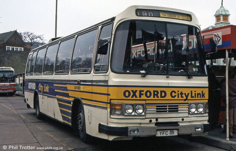 City of Oxford 1 (YFC 11R) in March 1984. This was a 1977 Leyland Leopard/Duple C49F.