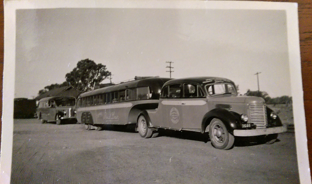 One of only 4 articulated buses in Australia at the time.  The trailer built by J A Lawton of Adelaide and the prime mover is a modified International truck. It could carry 58 passengers and was built in the late 1940's. (Image from the Pendle Family Collection)