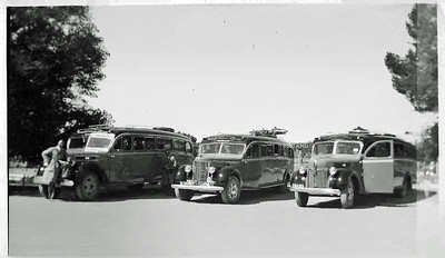 "The Pendle Motors bus fleet in 1940's. Two Ford V8's and a ""Diamond T"". (Image from the Pendle Family Collection)"