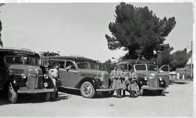 """The Pendle Motors bus fleet in 1940's. Two Ford V8's and a """"Diamond T"""". (Image from the Pendle Family Collection)"""