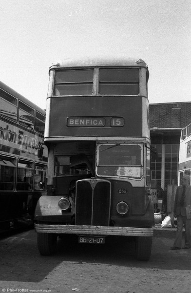 Former Carris 255 (GB-21-07), a 1955 AEC Regent III/Weymann H30/26R, now preserved in the UK.