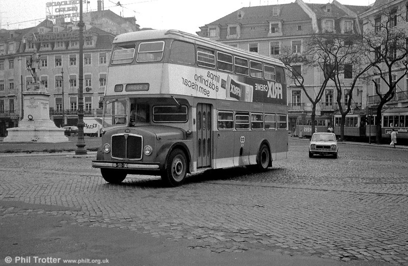 Finally in this section, the temptation to do this proved impossible to resist! It's Lisbon AEC Regent V 691 printed in reverse, to show how the vehicle would have looked had it been built for the UK.