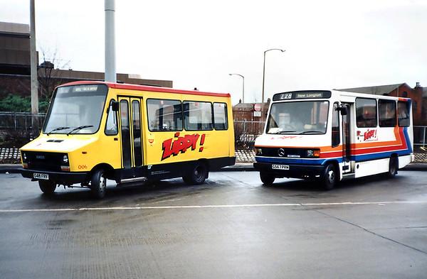 006 D418FRV and 567 G567PRM, Preston 19/1/1992