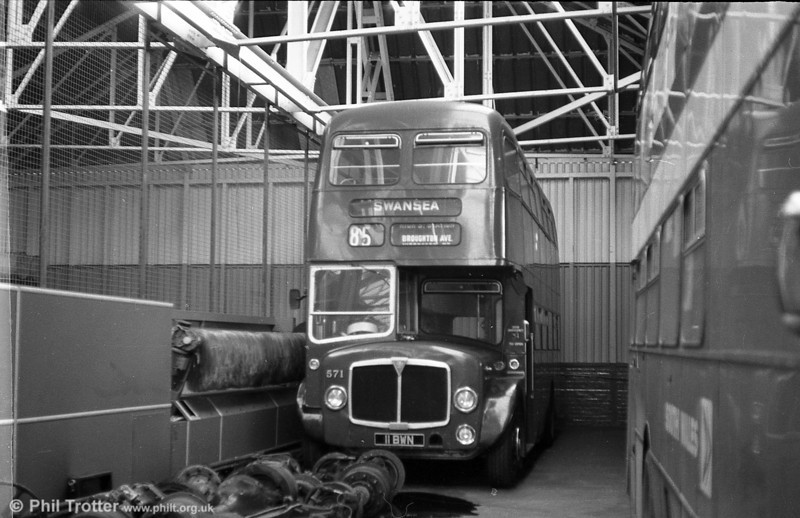 AEC Regent V 2D3RA / Willowbrook H39/32F 571 (11 BWN) at Ravenhill after restoration to original livery.