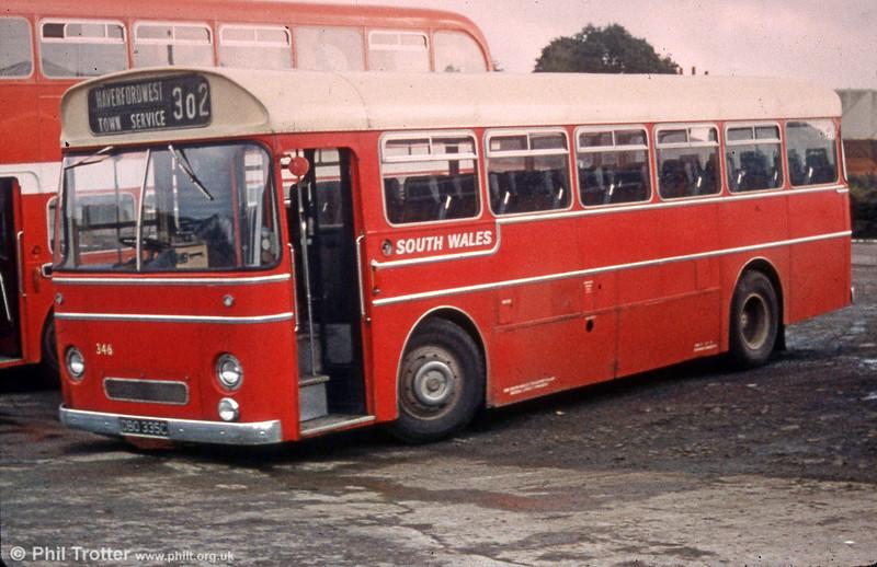 346 (DBO 335C), a former Western Welsh Leyland PSUC1/Park Royal DP41F at Haverfordwest.
