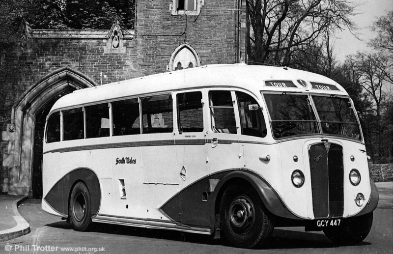 Seen when brand new in 1950 is 1020 (GCY 447) an AEC Regal III with Windover FC28F, one of three similar coaches purchased for continental tours.