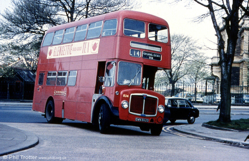 1966 AEC Regent V/Willowbrook H37/27F 634 (GWN 862D) in original livery at Llanelli.