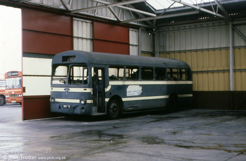 Latterly a training vehicle, Thomas Bros. NNY 70, a 1954 Leyland Tiger Cub/Saunders Roe B44F at one time looked likely to be preserved, but it was eventually scrapped.