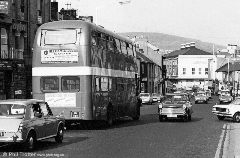 Another view of Mansel Street, Swansea with AEC Regent V/Willowbrook H39/32F 576 (16 BWN) about to turn into Christina Street.