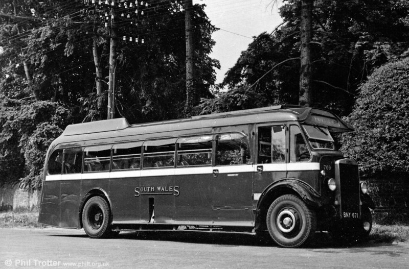 709 (BNY 761) was a 1936 Leyland TS7c with Beadle C32F acquired with the business of John Bros., Grovesend in July 1936. The vehicle was powered by a Gardner 5LW unit and at was at first numbered 410 in the SWT fleet. John Bros. ran services from Llanelli to Neath and Porthcawl.