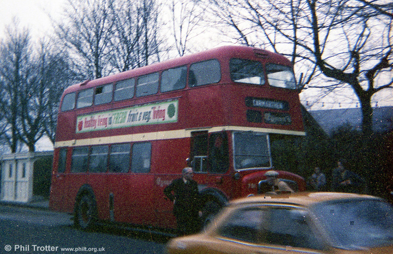 A poor photo, but showing 501 (RCY 343), 1958 AEC Regent V/Weymann H39/32F towards the end of its working life, at Llanelli with Eynons of Trimsaran.