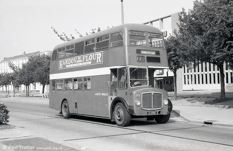 1962-built AEC Regent V/Willowbrook H39/32F 772 (12 BWN) on 29th July 1973.