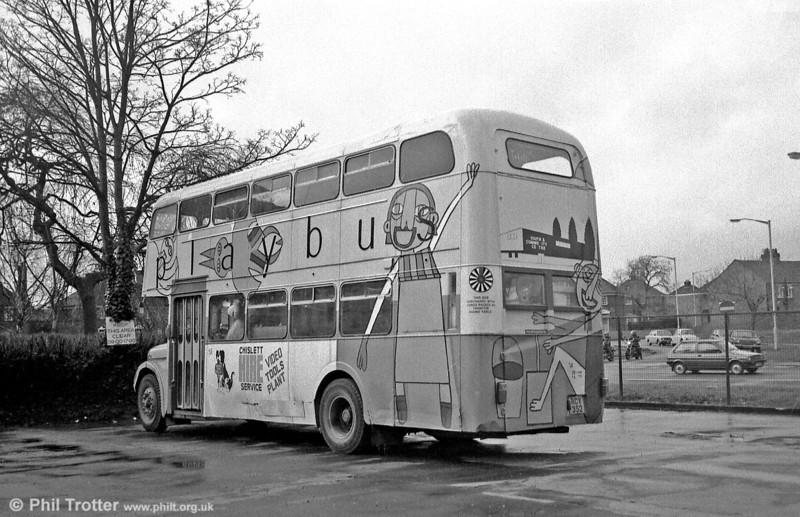 Rear view of former 510 (RCY 352), an AEC Regent V/Weymann H39/32F at Taunton.