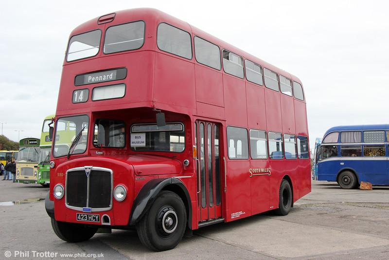1964 AEC Regent V/Weymann H39/32F 590 (423 HCY) at Swansea Bus Museum on 26th October 2014.
