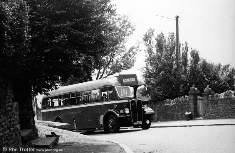 AEC Regal III/Willowbrook 74 (FWN 505) makes its way up to Townhill.