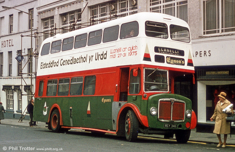 Former 504 (RCY 346), a 1958 AEC Regent V/Weyman H39/32F seen at Carmarthen in service with Eynon's, Trimsaran and painted to promote the 1975 Urdd Eisteddfod.