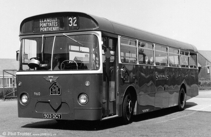AEC Reliance/Marshall B53F 960 (903 DCY) in experimental BET red and white livery.