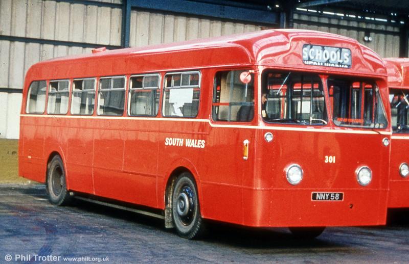 301 (NNY 58) was a 1953 Leyland Tiger Cub/Weymann B44F  which came from Thomas Bros. (Port Talbot) Ltd.