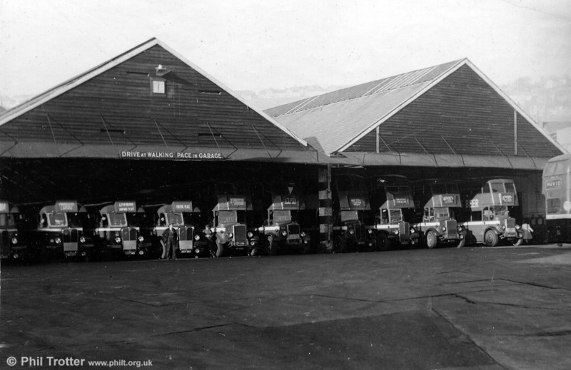 A 1950s view of Brunswick St. Depot with AECs and Leyland TD7s of 1939 vintage in evidence.