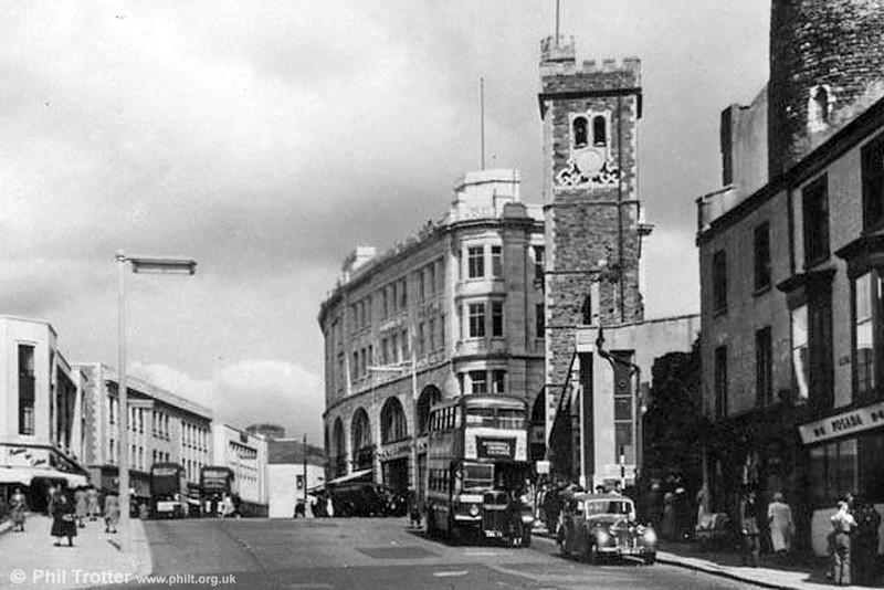 One of the 1951 'GWN' batch of AEC REgent IIIs/Weyman is seen in Castle Street, Swansea,